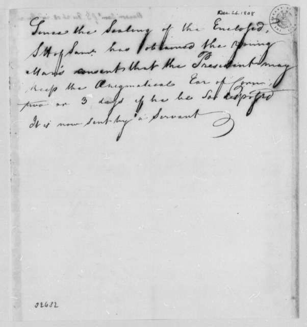 Samuel Hanson to Thomas Jefferson, December 26, 1808