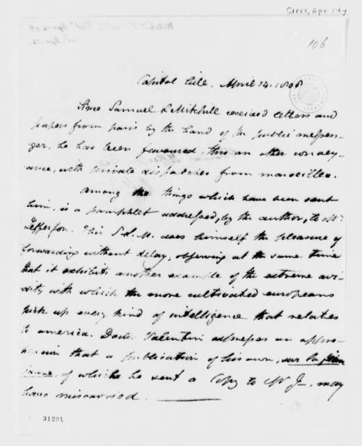 Samuel L. Mitchill to Thomas Jefferson, April 14, 1808