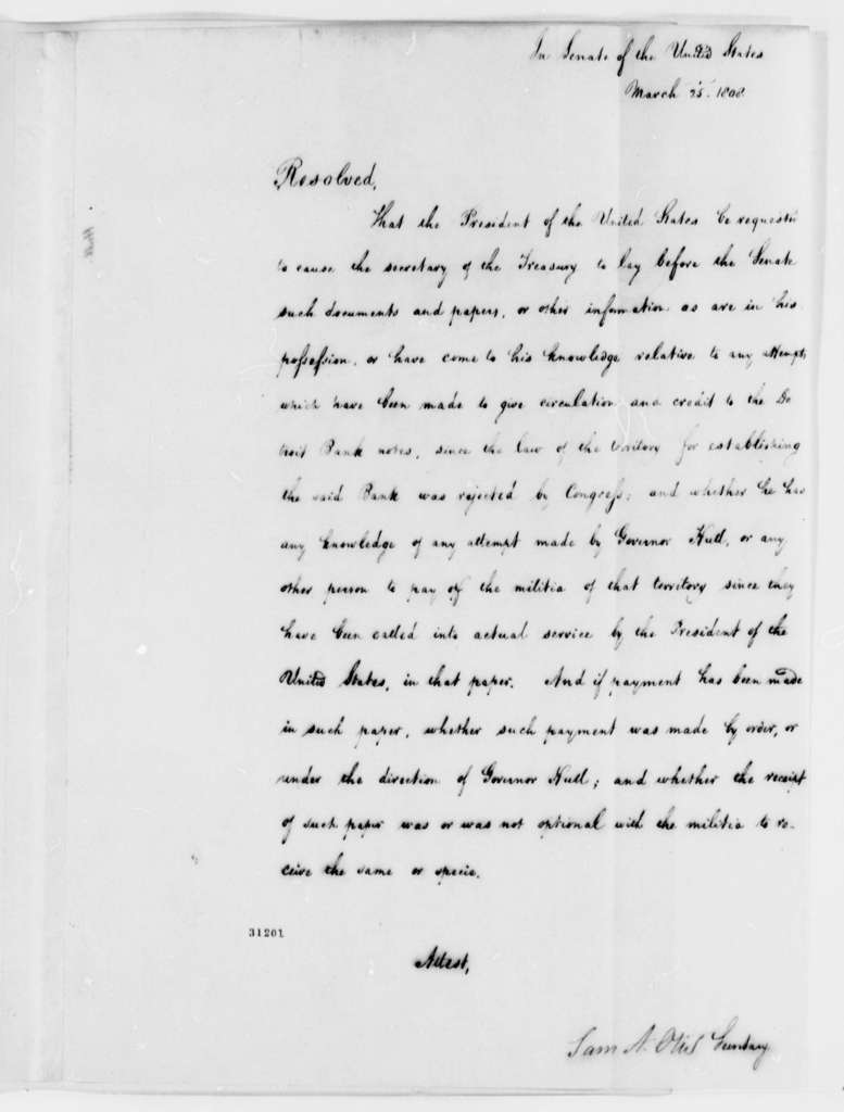 Senate, March 25, 1808, Bank of Detroit Paper Resolution