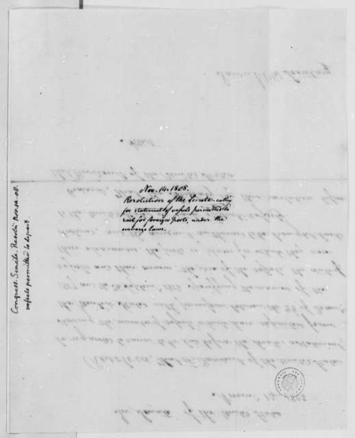 Senate, November 14, 1808, Resolutions on Cargoes Leaving U.S.