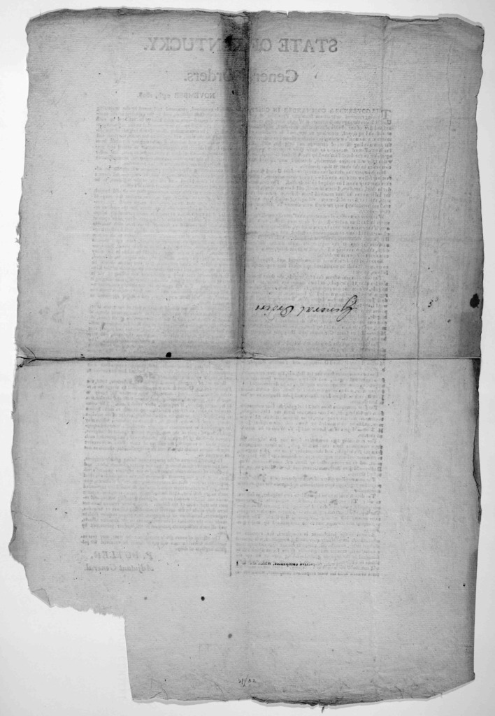 State of Kentucky. General orders November 24th 1808. [Frankfort?].