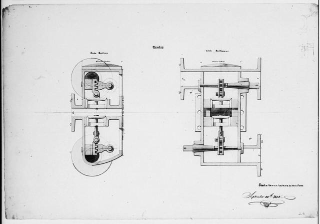 [Steam engine, Washington Navy Yard, Washington, D.C. Nozzles - side and back sections]