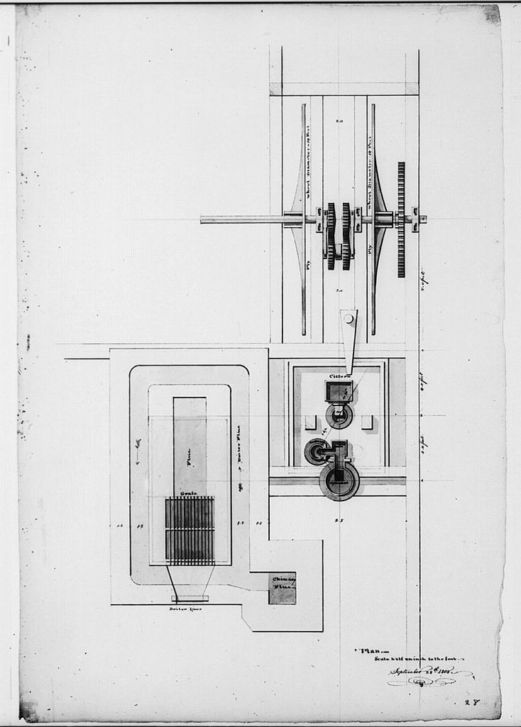 [Steam engine, Washington Navy Yard, Washington, D.C. Plan - flue, fly wheel, cistern, etc.]