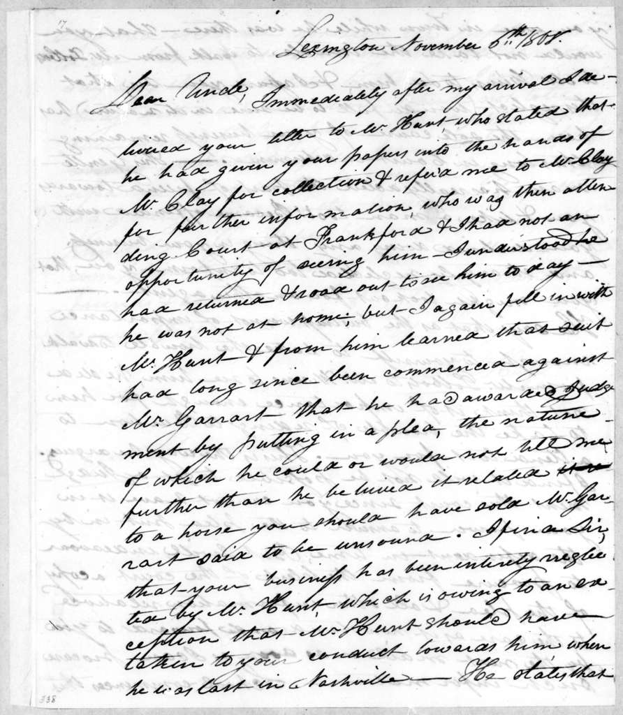 Stockley Donelson Hays to Andrew Jackson, November 6, 1808