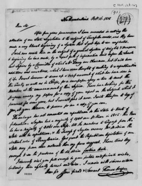 Thomas Cooper to Thomas Jefferson, October 16, 1808
