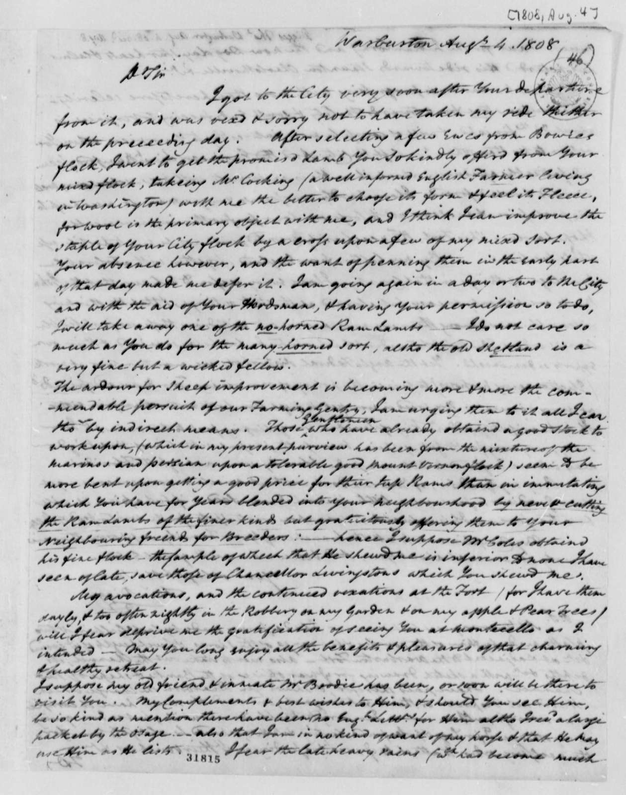 Thomas Digges to Thomas Jefferson, August 4, 1808