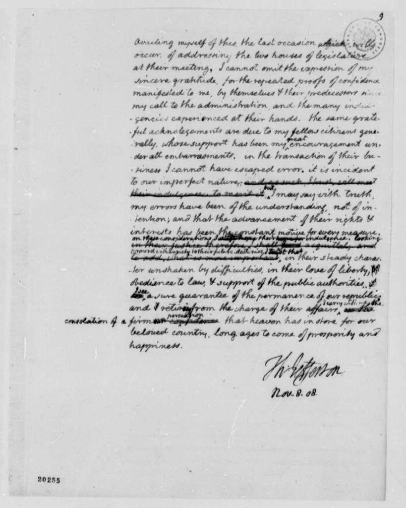 Thomas Jefferson, November 8, 1808, Draft of Annual Message