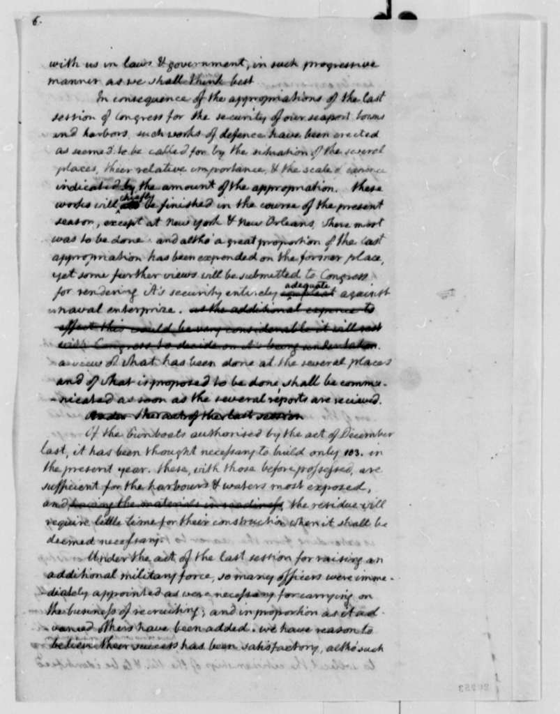 Thomas Jefferson, November 8, 1808, Draft of Annual Message