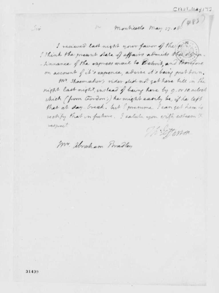 Thomas Jefferson to Abraham Bradley, Jr., May 17, 1808