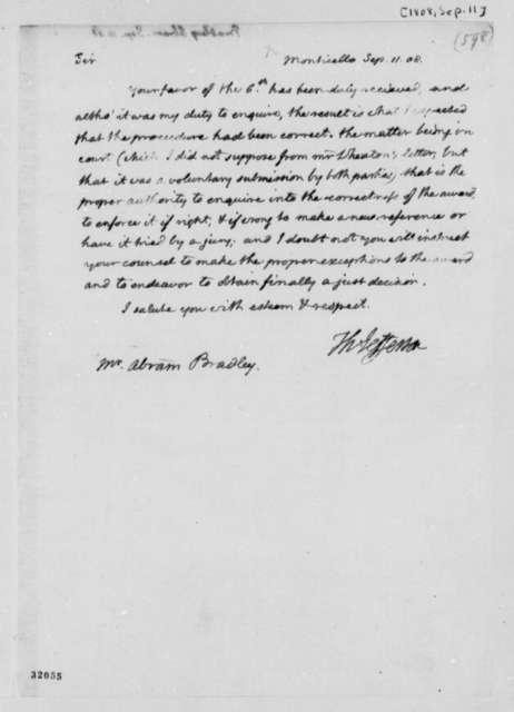 Thomas Jefferson to Abraham Bradley, September 11, 1808