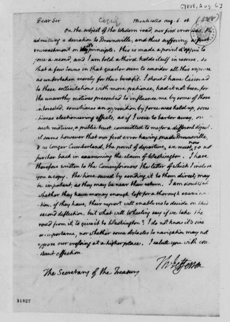 Thomas Jefferson to Albert Gallatin, August 6, 1808