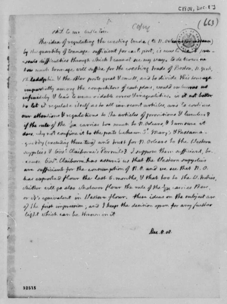 Thomas Jefferson to Albert Gallatin, December 8, 1808