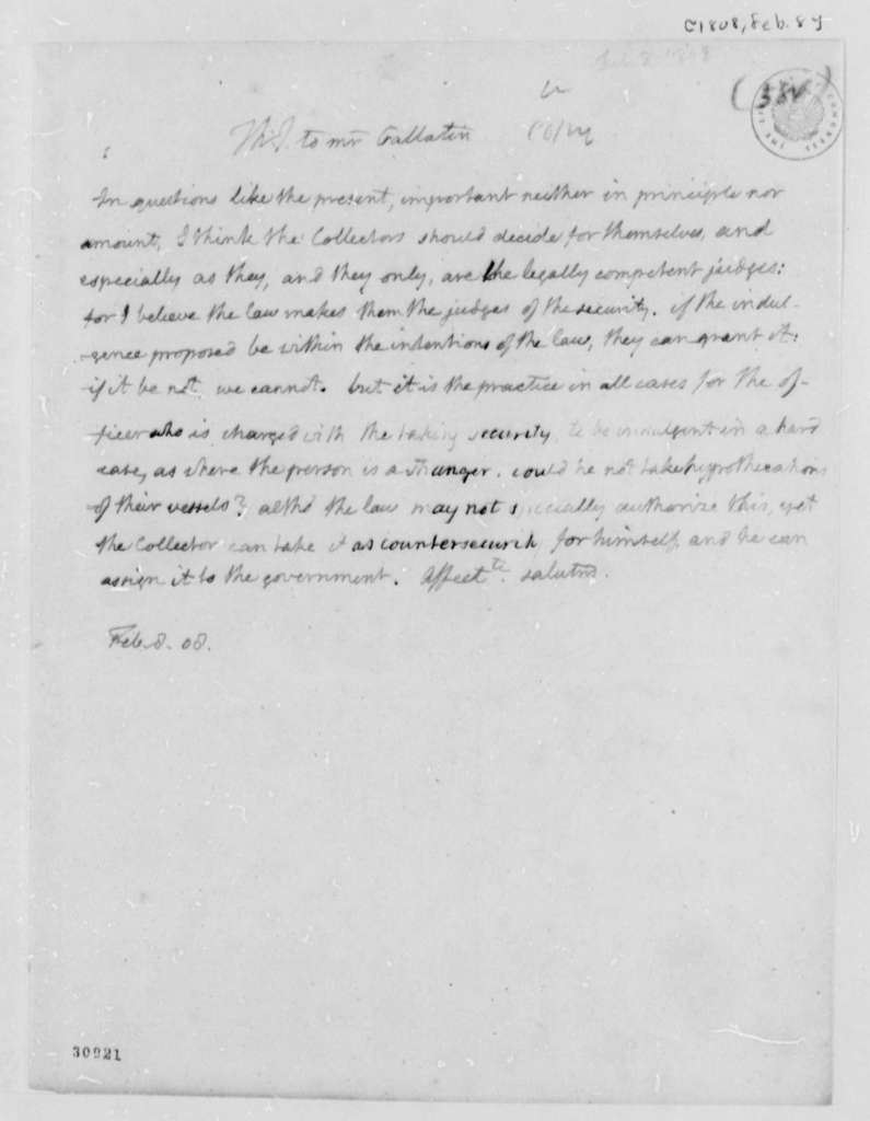 Thomas Jefferson to Albert Gallatin, February 8, 1808