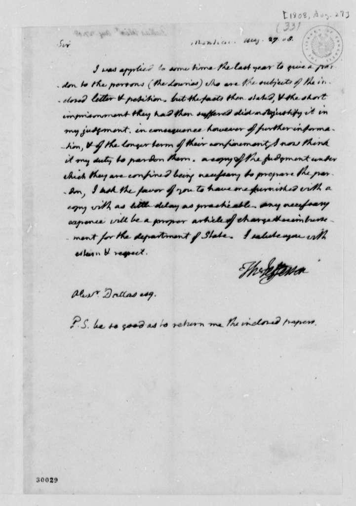 Thomas Jefferson to Alexander Dallas, August 27, 1808