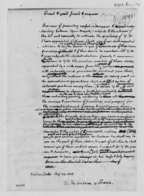Thomas Jefferson to Alexander I of Russia, August 29, 1808, Draft