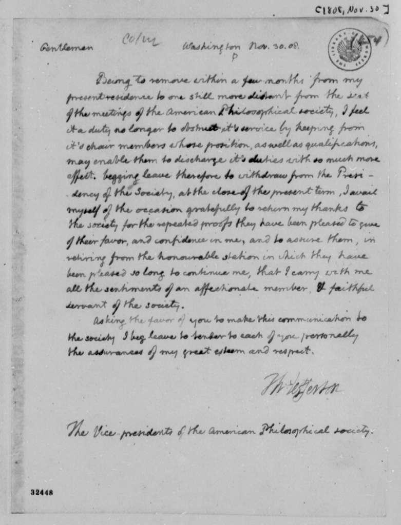 Thomas Jefferson to American Philosophical Society, November 30, 1808