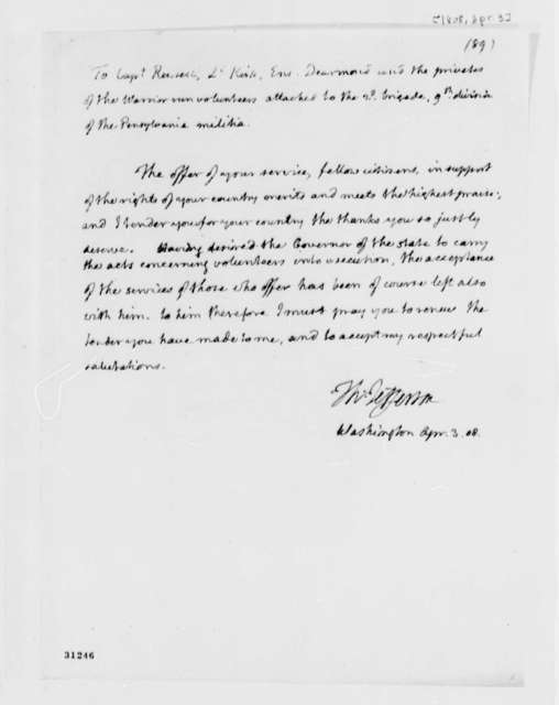 Thomas Jefferson to Andrew Russell, Samuel Dearmond, and William Kirk, April 3, 1808
