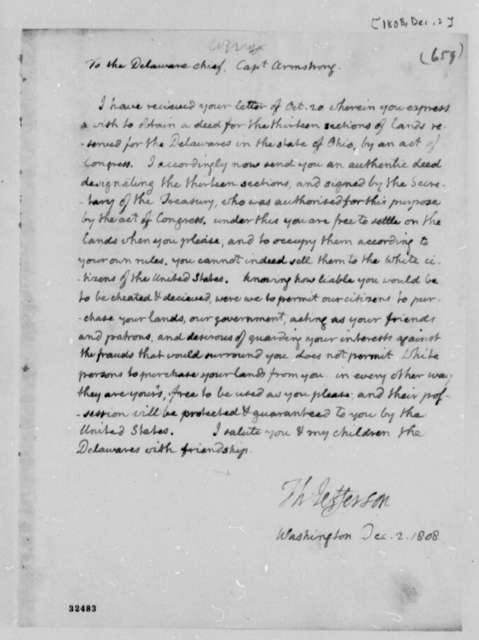 Thomas Jefferson to Armstrong, December 2, 1808