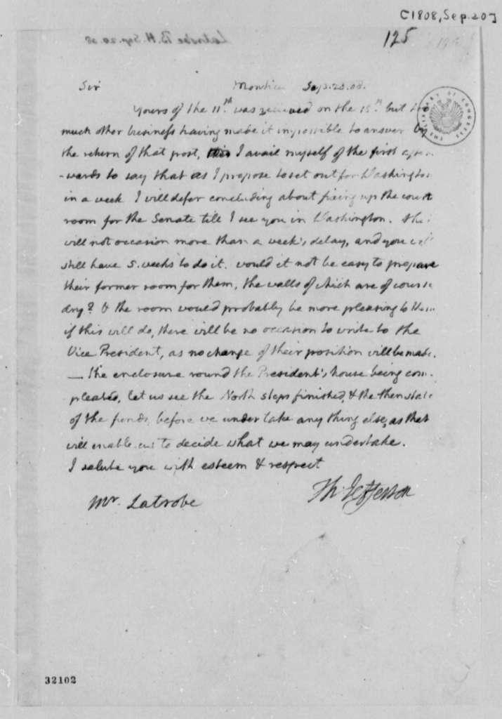 Thomas Jefferson to Benjamin H. Latrobe, September 20, 1808