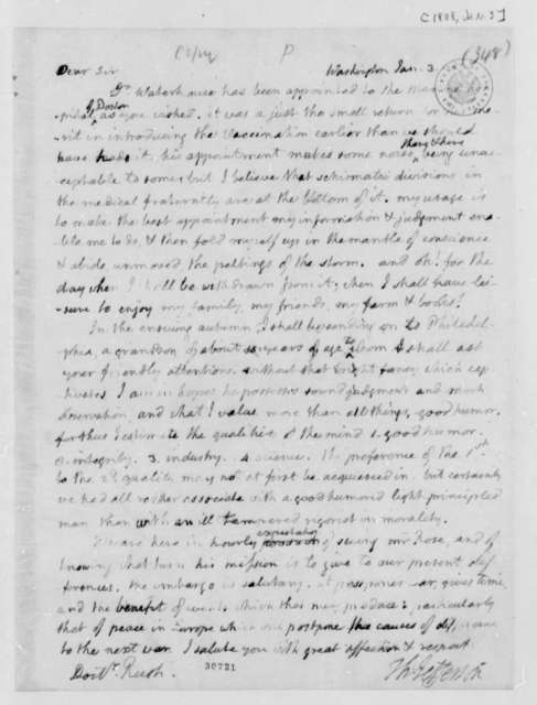 Thomas Jefferson to Benjamin Rush, January 3, 1808