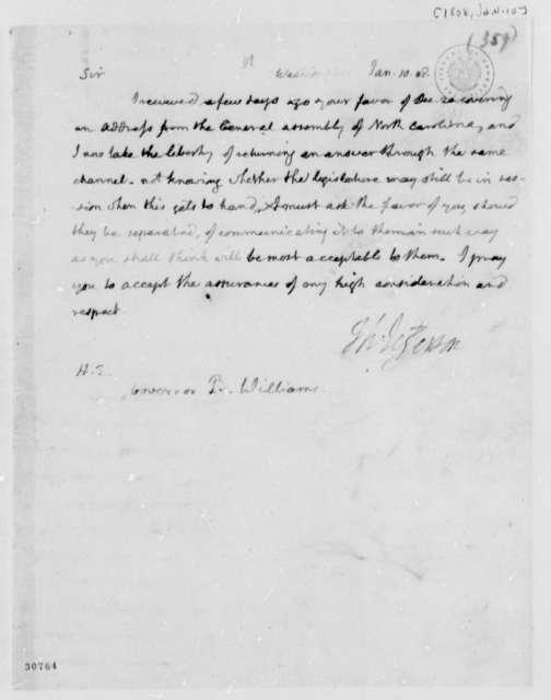Thomas Jefferson to Benjamin Williams, January 10, 1808