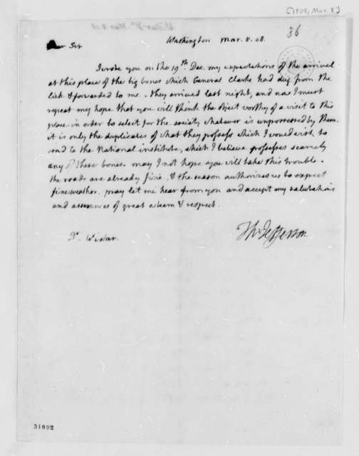 Thomas Jefferson to Caspar Wistar, March 8, 1808