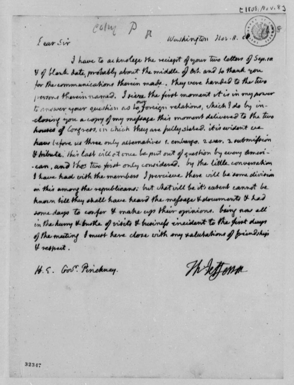 Thomas Jefferson to Charles Pinckney, November 8, 1808