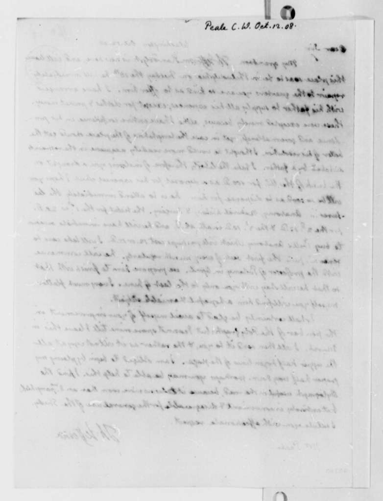 Thomas Jefferson to Charles Willson Peale, October 12, 1808