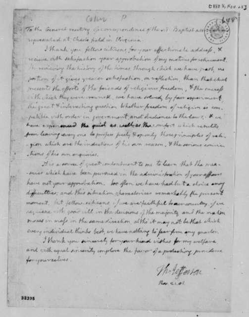 Thomas Jefferson to Chesterfield, Virginia Baptist Association, November 21, 1808