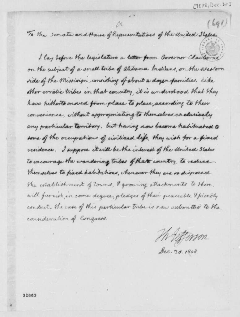Thomas Jefferson to Congress, December 30, 1808