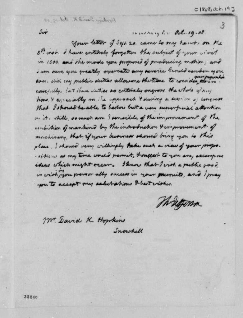 Thomas Jefferson to David K. Hopkins, October 19, 1808