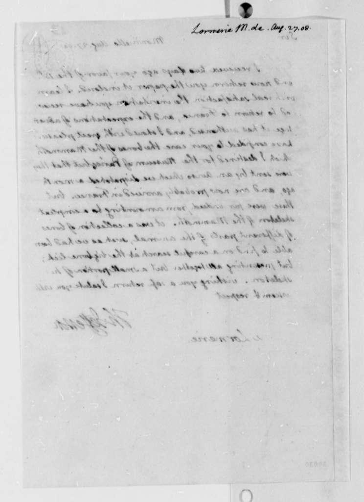 Thomas Jefferson to De Lormerie, August 27, 1808