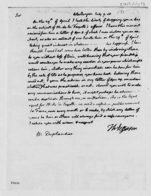 Thomas Jefferson to Duplantier, July 9, 1808