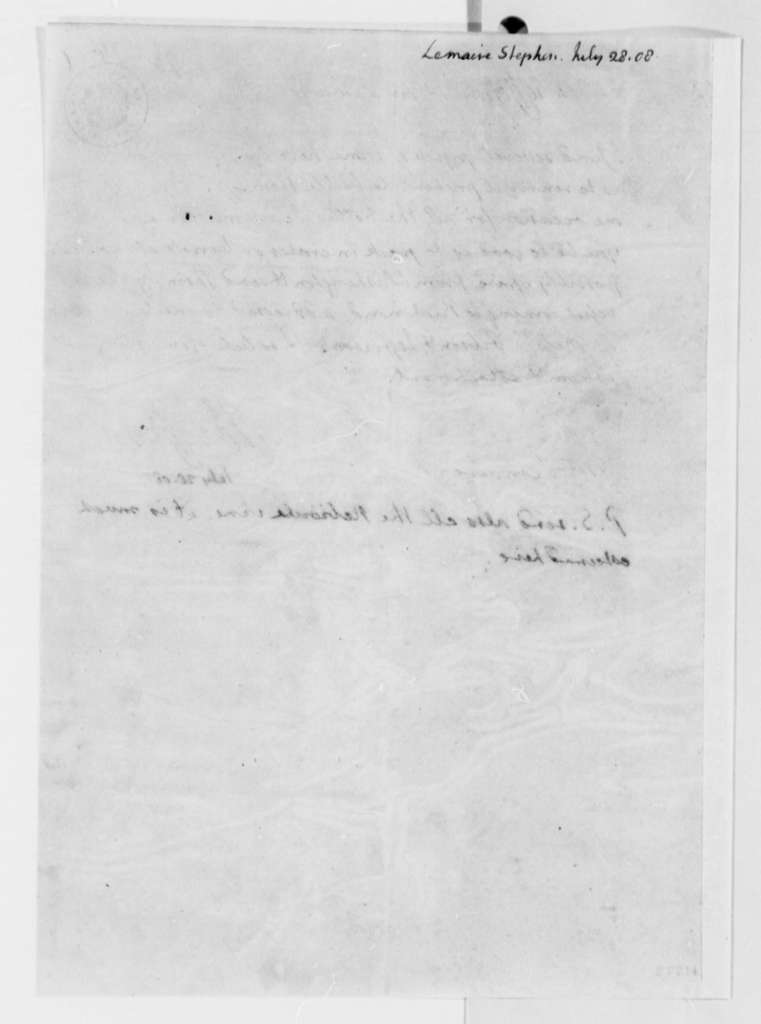 Thomas Jefferson to Etienne le Maire, July 28, 1808