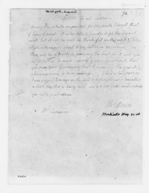 Thomas Jefferson to Etienne le Maire, May 21, 1808
