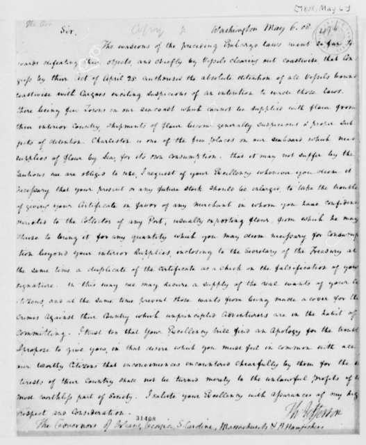 Thomas Jefferson to Governors of Orleans, Georgia, South Carolina, Massachusetts, and New Hampshire, May 6, 1808