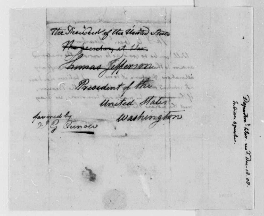 Thomas Jefferson to Henry Dearborn, December 18, 1808