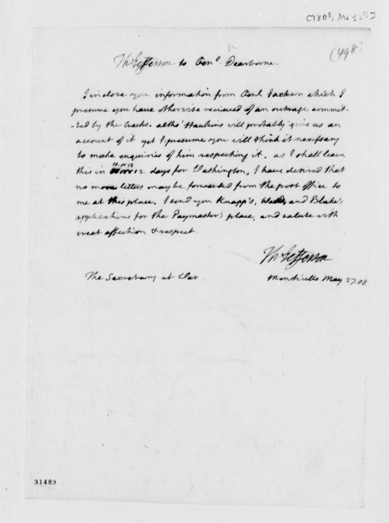 Thomas Jefferson to Henry Dearborn, May 27, 1808