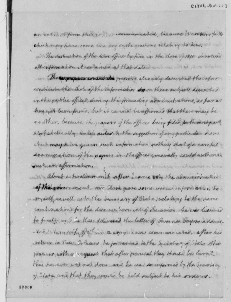 Thomas Jefferson to House of Representatives, January 20, 1808, Report