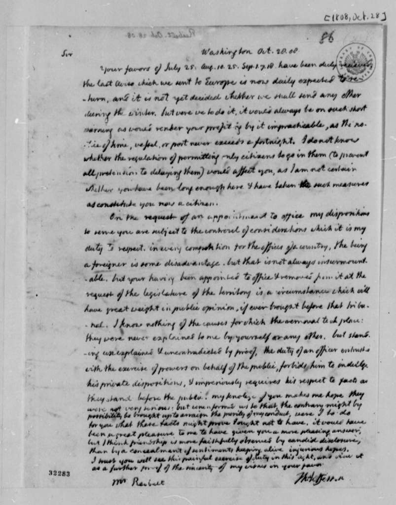 Thomas Jefferson to J. Philip Reibelt, October 28, 1808