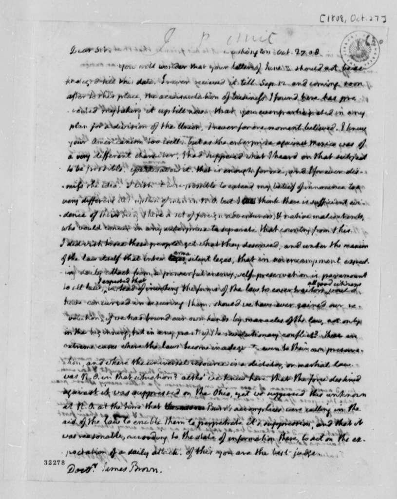 Thomas Jefferson to James Brown, October 27, 1808