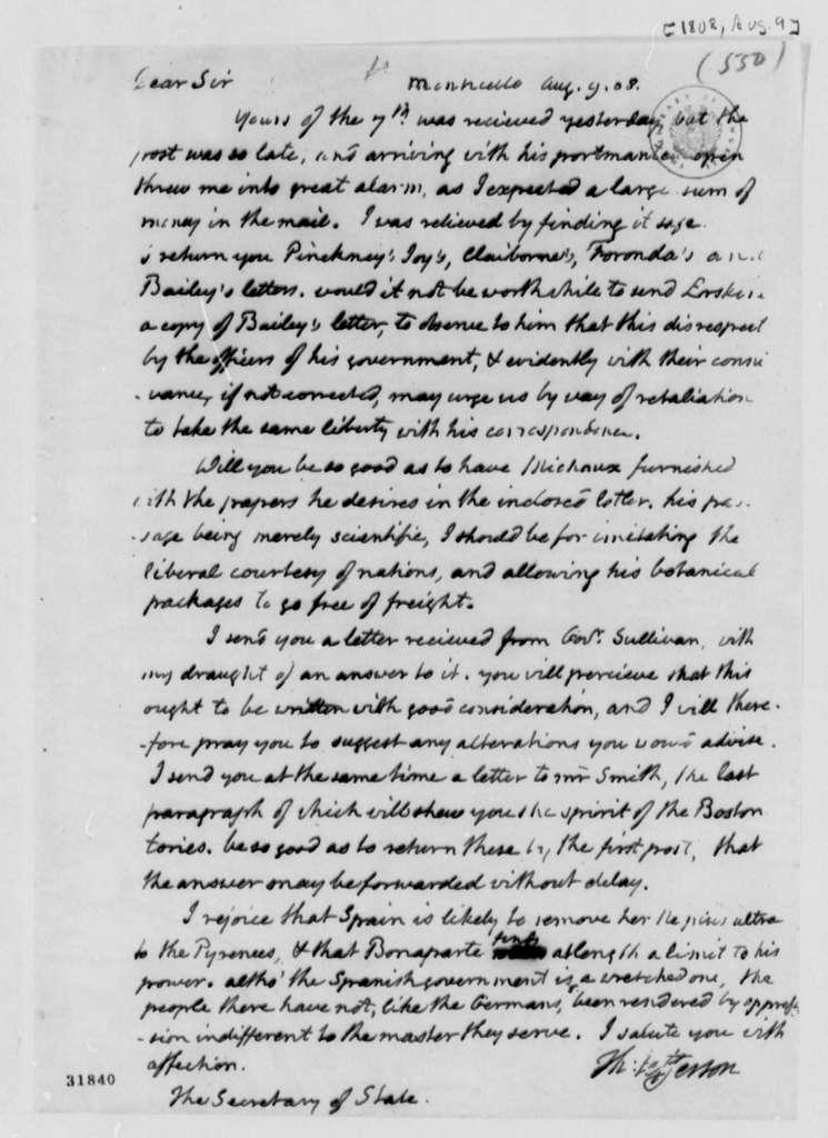 Thomas Jefferson to James Madison, August 9, 1808