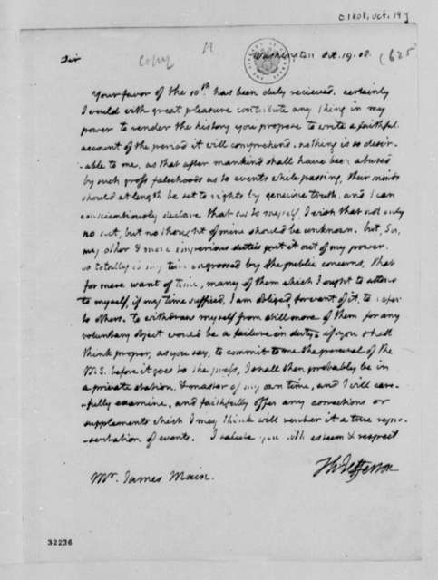 Thomas Jefferson to James Main, October 19, 1808