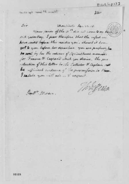 Thomas Jefferson to James Mease, September 23, 1808
