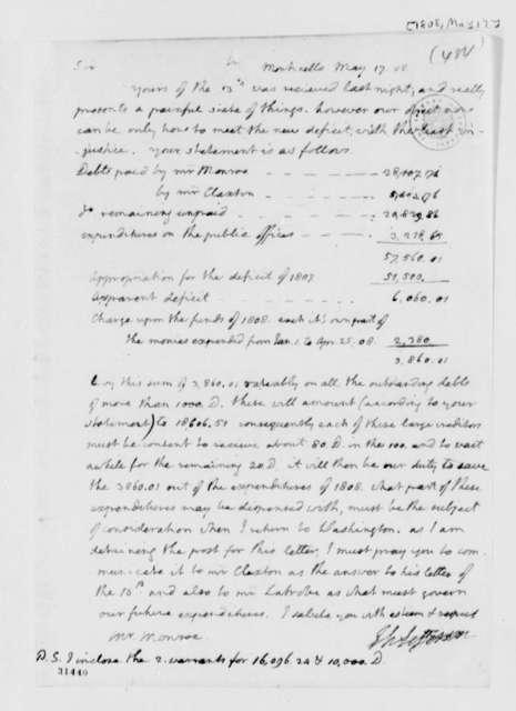 Thomas Jefferson to James Monroe, May 17, 1808