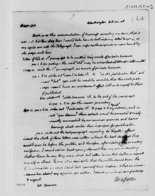 Thomas Jefferson to James Monroe, October 12, 1808