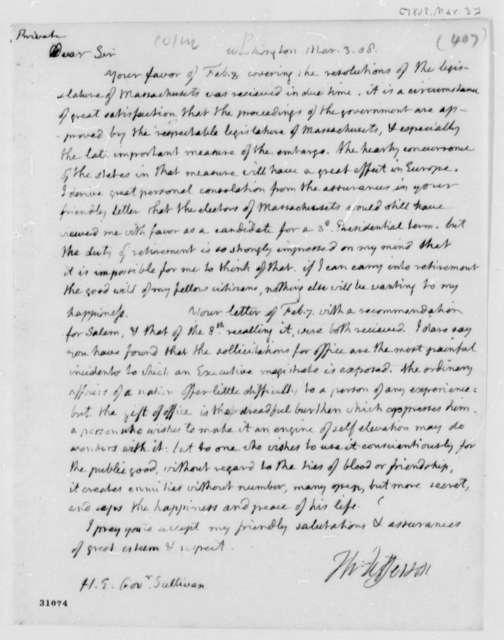 Thomas Jefferson to James Sullivan, March 3, 1808