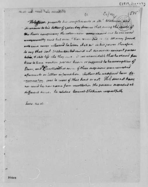 Thomas Jefferson to James Wilkinson, June 24, 1808