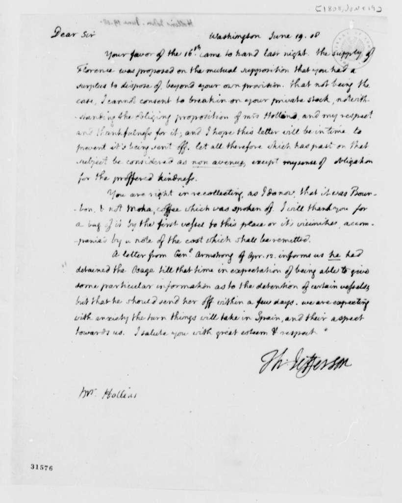 Thomas Jefferson to John Hollins, June 19, 1808