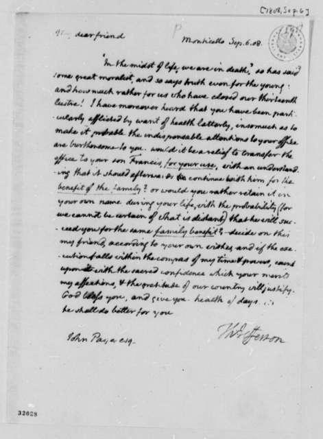 Thomas Jefferson to John Page, September 6, 1808